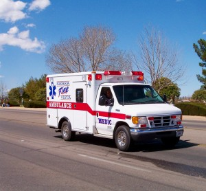 Ambulance and first responders rushing to a scene copyright Calgrin, 2005