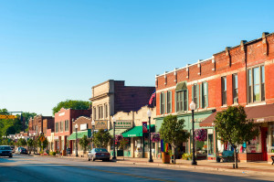 BEDFORD, OH - JULY 25, 2015: With many old buildings over a century old, this southeastern Cleveland suburb retains a small-town America look and atmosphere.