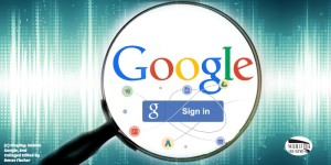 Google Logo and Google sign-in Image under magnifying glass.