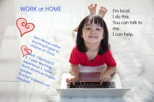 Asian Chinese little girl with laptop lying on the floor at home